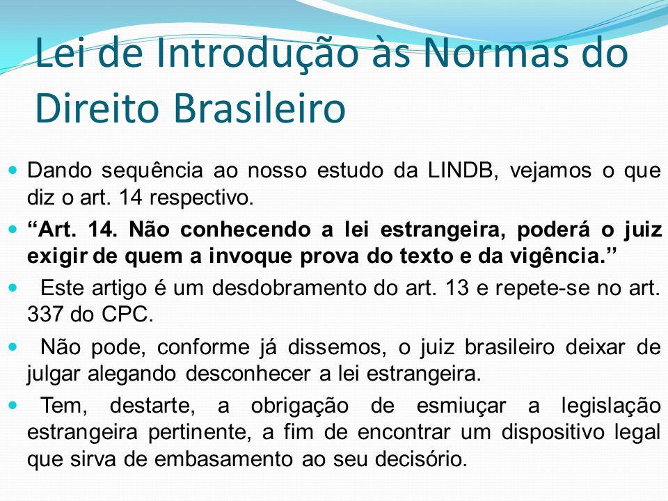 Lei de Introdução às Normas do Direito Brasileiro Dando sequência ao nosso estudo da LINDB, vejamos o que diz o art. 14 respectivo. Art. 14. Não conhe