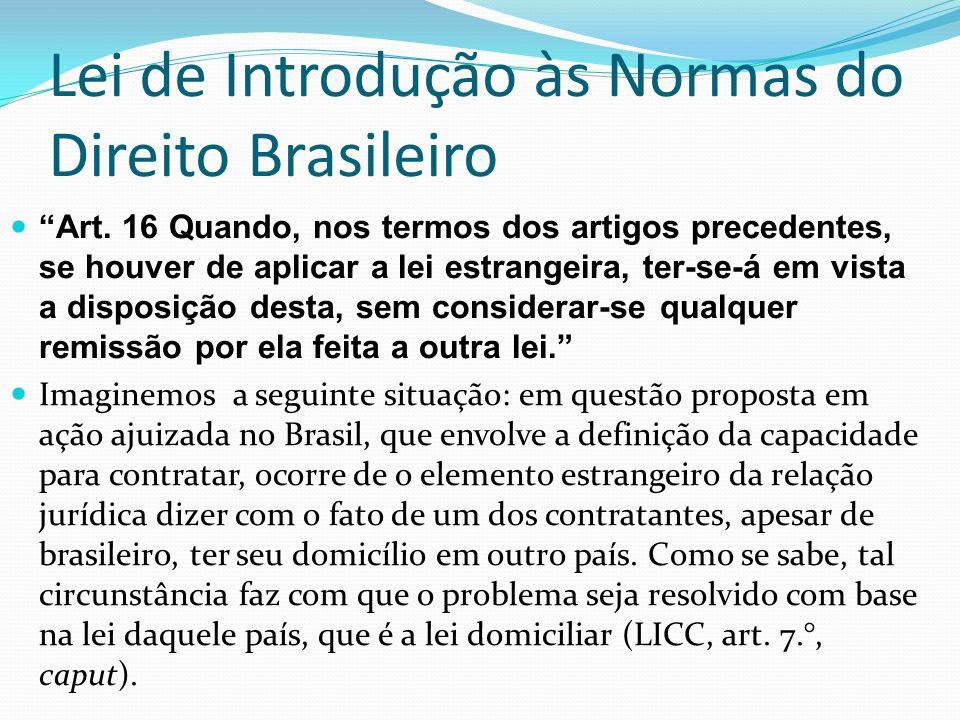 Lei de Introdução às Normas do Direito Brasileiro Art. 16 Quando, nos termos dos artigos precedentes, se houver de aplicar a lei estrangeira, ter-se-á