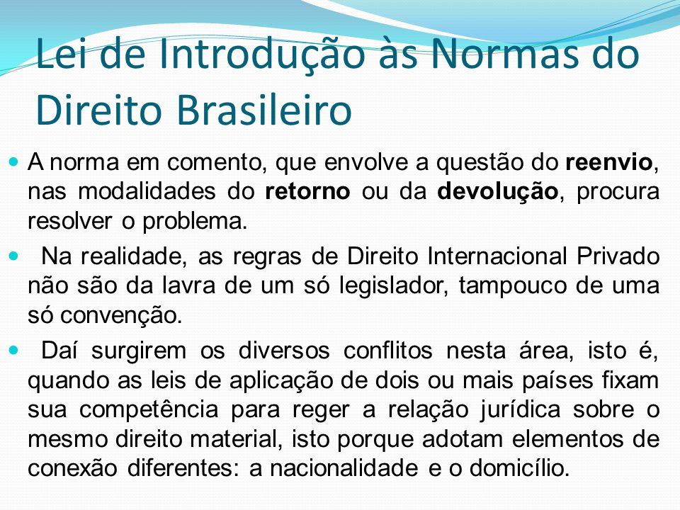 Lei de Introdução às Normas do Direito Brasileiro A norma em comento, que envolve a questão do reenvio, nas modalidades do retorno ou da devolução, pr