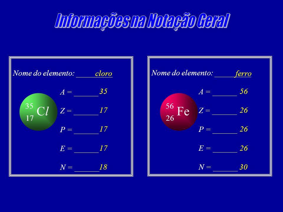 ClCl 17 35 Nome do elemento: _________ A = ______ Z = ______ P = ______ E = ______ N = ______ cloro 35 17 18 Fe 26 56 Nome do elemento: _________ A = ______ Z = ______ P = ______ E = ______ N = ______ ferro 56 26 30
