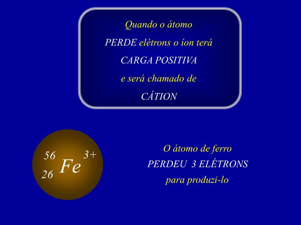 Quando o átomo PERDE elétrons o íon terá CARGA POSITIVA e será chamado de CÁTION O átomo de ferro PERDEU 3 ELÉTRONS para produzi-lo Fe 56 26 3+