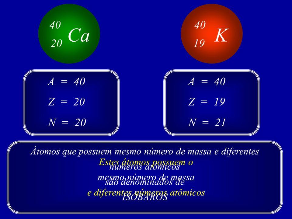 Ca 40 20 K 40 19 Z = 20 A = 40 N = 20 Z = 19 A = 40 N = 21 Estes átomos possuem o mesmo número de massa e diferentes números atômicos Átomos que possuem mesmo número de massa e diferentes números atômicos são denominados de ISÓBAROS