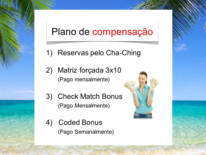 Plano de compensação 1)Reservas pelo Cha-Ching 2)Matriz forçada 3x10 (Pago mensalmente) 3)Check Match Bonus (Pago Mensalmente) 4) Coded Bonus (Pago Se