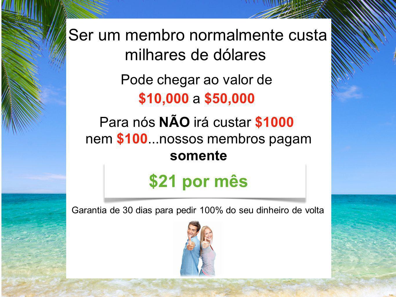 Ser um membro normalmente custa milhares de dólares Pode chegar ao valor de $10,000 a $50,000 Para nós NÃO irá custar $1000 nem $100...nossos membros pagam somente Garantia de 30 dias para pedir 100% do seu dinheiro de volta $21 por mês