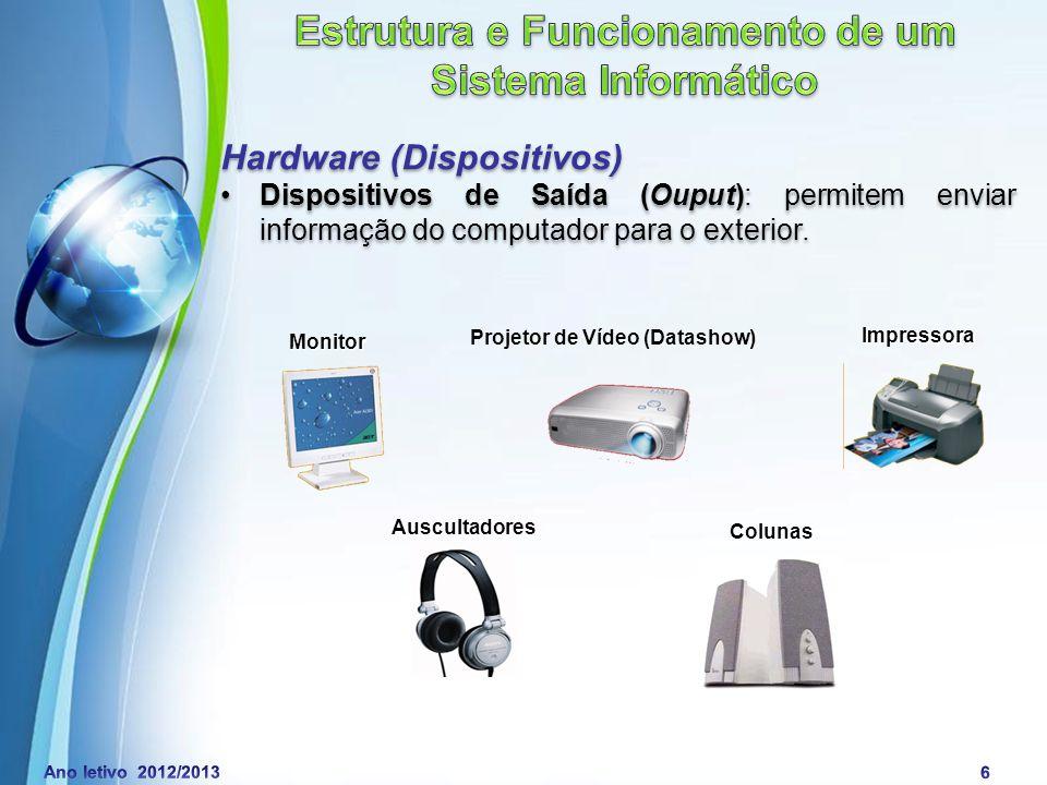 Powerpoint Templates Page 7 Hardware (Dispositivos) Dispositivos de Entrada / Saída (Input / Ouput): permitem que o utilizador envie informação para o computador e que o computador envie informação para o utilizador.