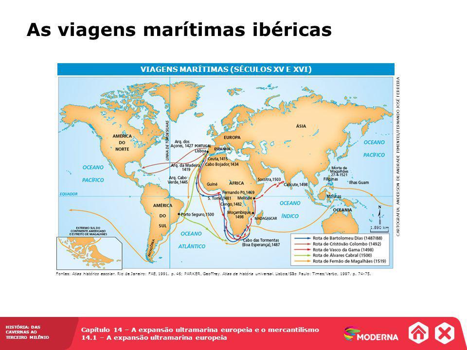 Capítulo 14 – A expansão ultramarina europeia e o mercantilismo 14.1 – A expansão ultramarina europeia HISTÓRIA: DAS CAVERNAS AO TERCEIRO MILÊNIO As viagens marítimas ibéricas Fontes: Atlas histórico escolar.