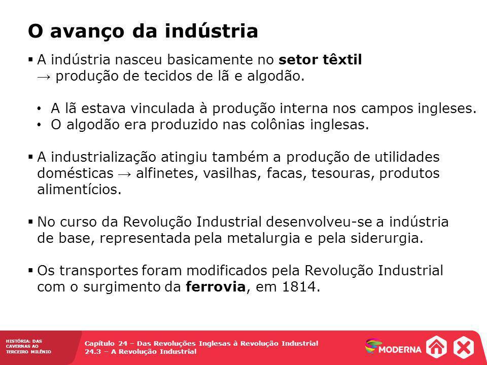 HISTÓRIA: DAS CAVERNAS AO TERCEIRO MILÊNIO Capítulo 24 – Das Revoluções Inglesas à Revolução Industrial 24.3 – A Revolução Industrial A indústria nasc
