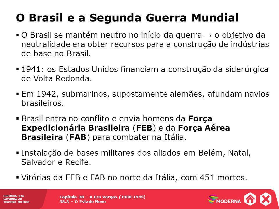 Capítulo 38 – A Era Vargas (1930-1945) 38.3 – O Estado Novo HISTÓRIA: DAS CAVERNAS AO TERCEIRO MILÊNIO O Brasil e a Segunda Guerra Mundial O Brasil se