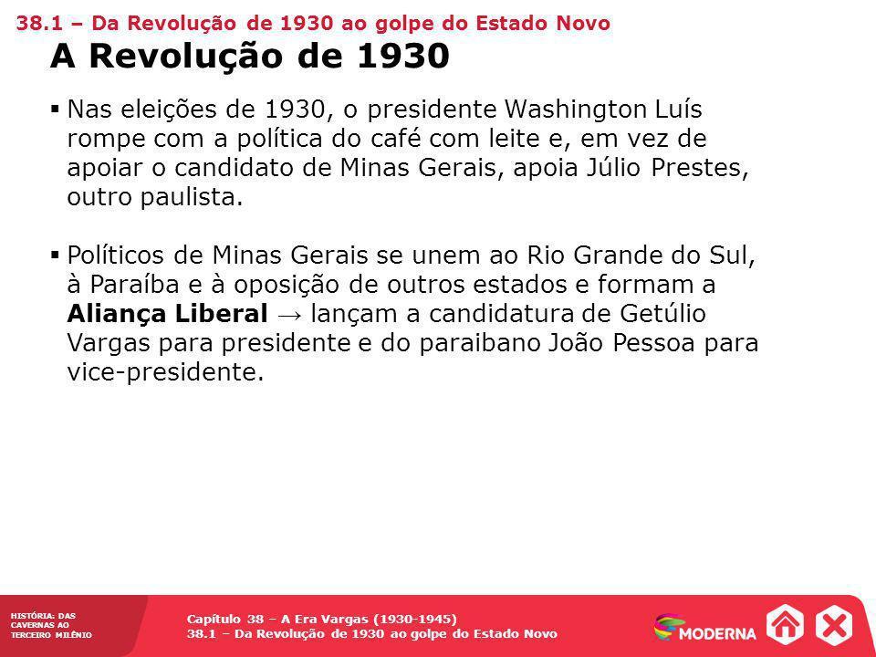 Capítulo 38 – A Era Vargas (1930-1945) 38.1 – Da Revolução de 1930 ao golpe do Estado Novo HISTÓRIA: DAS CAVERNAS AO TERCEIRO MILÊNIO Nas eleições de