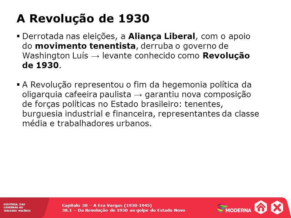 Capítulo 38 – A Era Vargas (1930-1945) 38.1 – Da Revolução de 1930 ao golpe do Estado Novo HISTÓRIA: DAS CAVERNAS AO TERCEIRO MILÊNIO A Revolução de 1