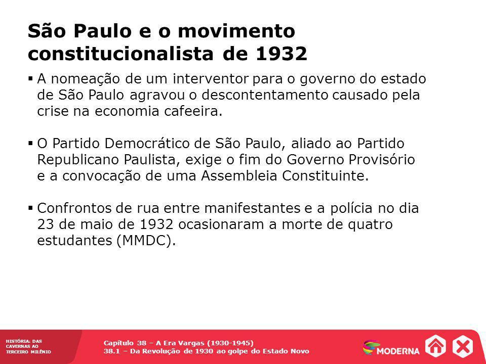 Capítulo 38 – A Era Vargas (1930-1945) 38.1 – Da Revolução de 1930 ao golpe do Estado Novo HISTÓRIA: DAS CAVERNAS AO TERCEIRO MILÊNIO São Paulo e o movimento constitucionalista de 1932 Inicia-se a revolta, em 9 de julho de 1932, que dura três meses vários trabalhadores são recrutados para lutar contra as tropas governistas.