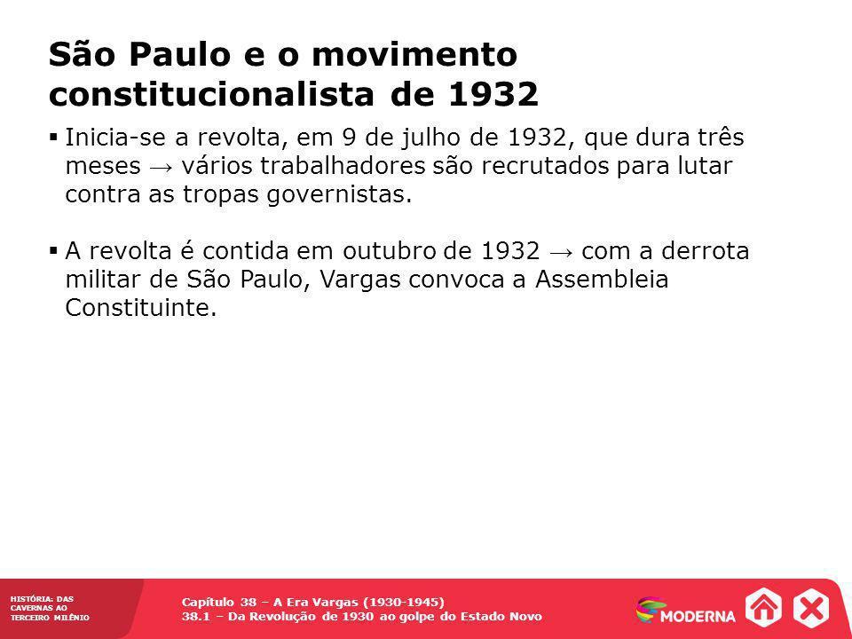 Capítulo 38 – A Era Vargas (1930-1945) 38.1 – Da Revolução de 1930 ao golpe do Estado Novo HISTÓRIA: DAS CAVERNAS AO TERCEIRO MILÊNIO Soldados paulistas prepararam granada durante o movimento constitucionalista de 1932.