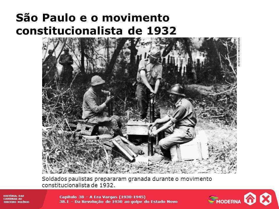Capítulo 38 – A Era Vargas (1930-1945) 38.1 – Da Revolução de 1930 ao golpe do Estado Novo HISTÓRIA: DAS CAVERNAS AO TERCEIRO MILÊNIO O Governo Constitucional de Vargas (1934-1937) Foi promulgada uma nova Constituição, que mesclava características liberais, autoritárias e corporativas (16 de julho de 1934) O governo constitucional de Vargas (1934-1937) Manutenção dos três poderes (Executivo, Legislativo e Judiciário), com a extinção do cargo de vice-presidente e o fortalecimento do Executivo Reconheceu direitos trabalhistas: salário mínimo, jornada diária de 8 horas de trabalho, férias anuais remuneradas etc.