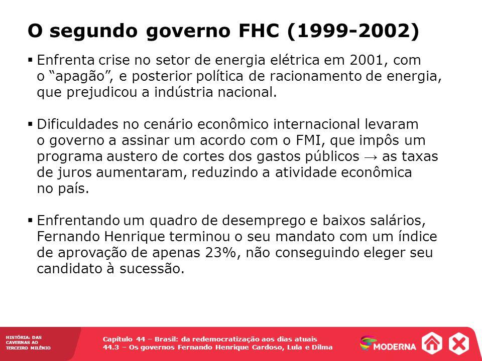 HISTÓRIA: DAS CAVERNAS AO TERCEIRO MILÊNIO Capítulo 44 – Brasil: da redemocratização aos dias atuais 44.3 – Os governos Fernando Henrique Cardoso, Lul