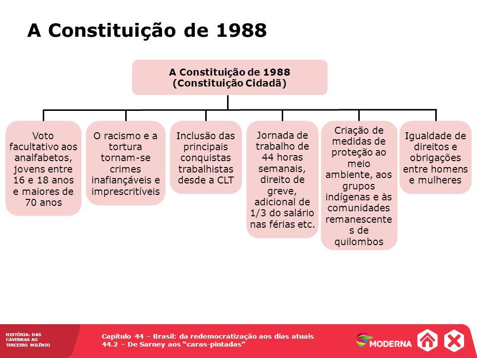HISTÓRIA: DAS CAVERNAS AO TERCEIRO MILÊNIO Capítulo 44 – Brasil: da redemocratização aos dias atuais 44.2 – De Sarney aos caras-pintadas A Constituiçã