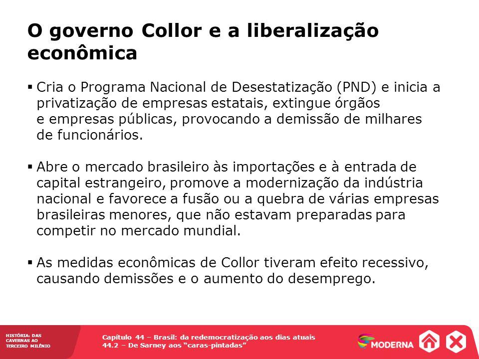 HISTÓRIA: DAS CAVERNAS AO TERCEIRO MILÊNIO Capítulo 44 – Brasil: da redemocratização aos dias atuais 44.2 – De Sarney aos caras-pintadas Cria o Progra