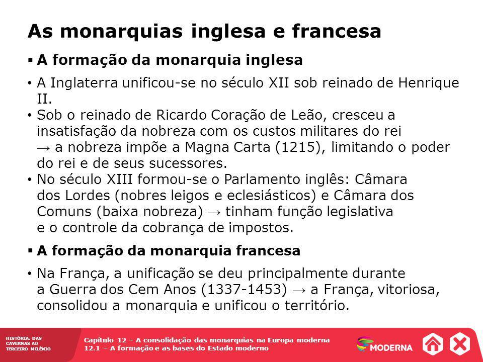 Capítulo 12 – A consolidação das monarquias na Europa moderna 12.1 – A formação e as bases do Estado moderno HISTÓRIA: DAS CAVERNAS AO TERCEIRO MILÊNI