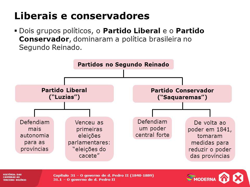 Capítulo 31 – O governo de d. Pedro II (1840-1889) 31.1 – O governo de d. Pedro II HISTÓRIA: DAS CAVERNAS AO TERCEIRO MILÊNIO Liberais e conservadores