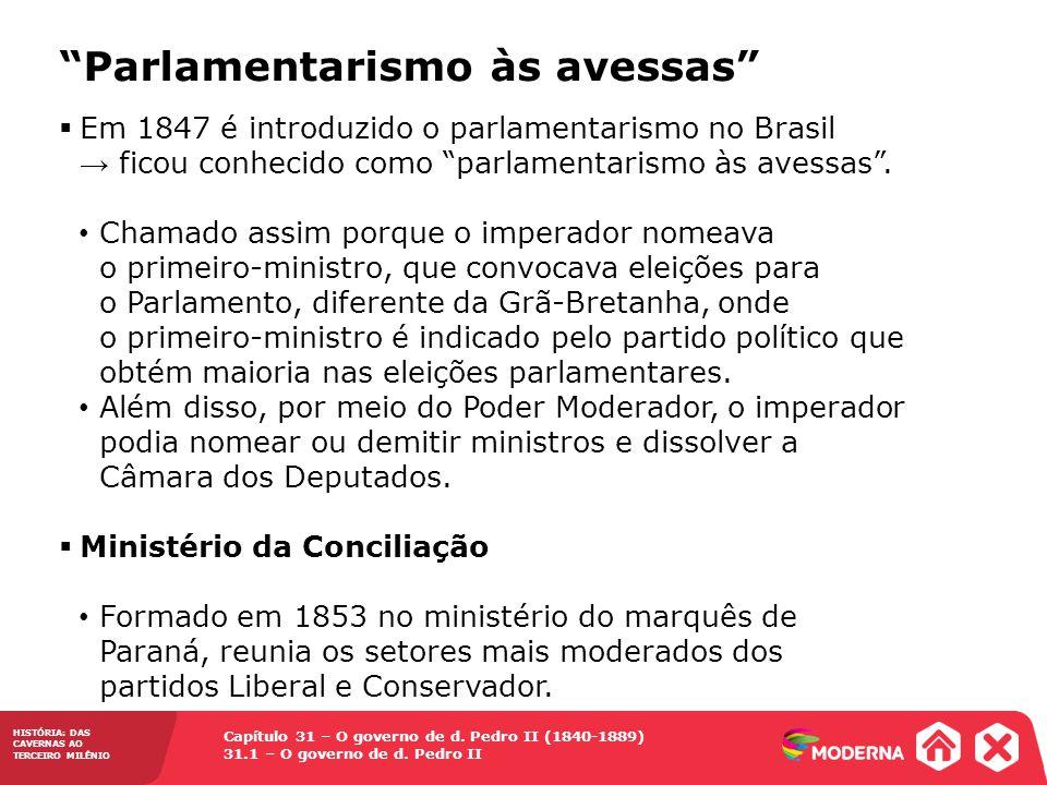 Capítulo 31 – O governo de d. Pedro II (1840-1889) 31.1 – O governo de d. Pedro II HISTÓRIA: DAS CAVERNAS AO TERCEIRO MILÊNIO Parlamentarismo às avess
