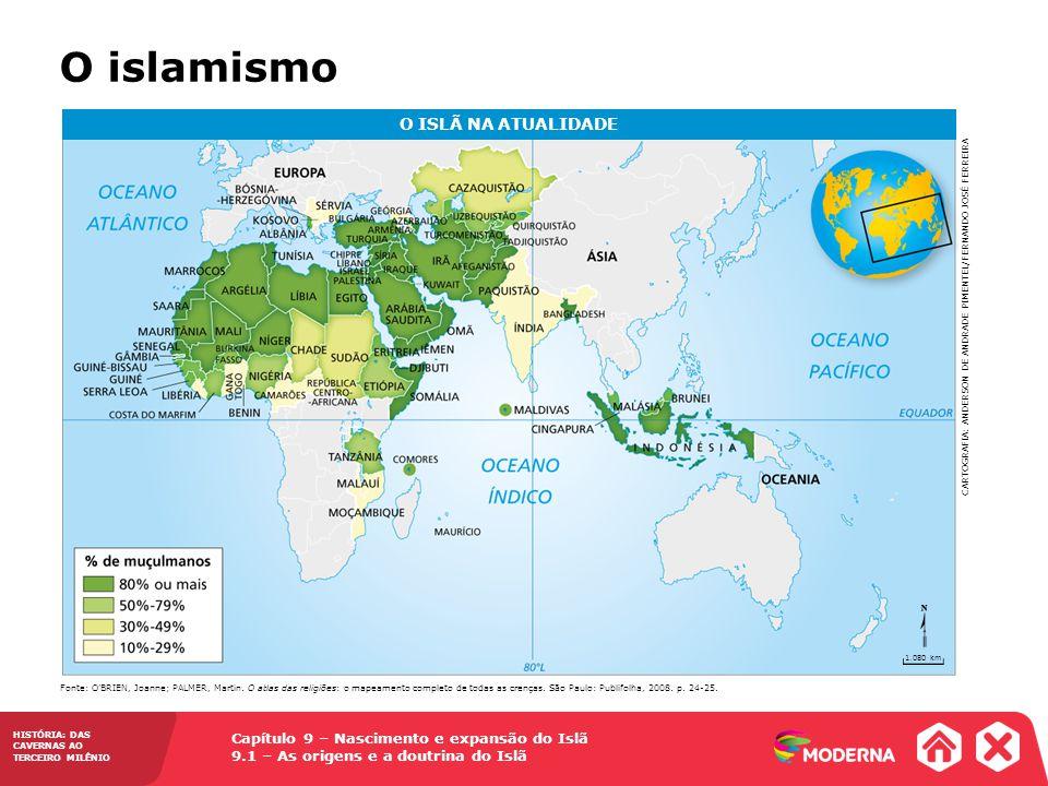 Capítulo 9 – Nascimento e expansão do Islã 9.1 – As origens e a doutrina do Islã HISTÓRIA: DAS CAVERNAS AO TERCEIRO MILÊNIO O islamismo O ISLÃ NA ATUALIDADE Fonte: OBRIEN, Joanne; PALMER, Martin.