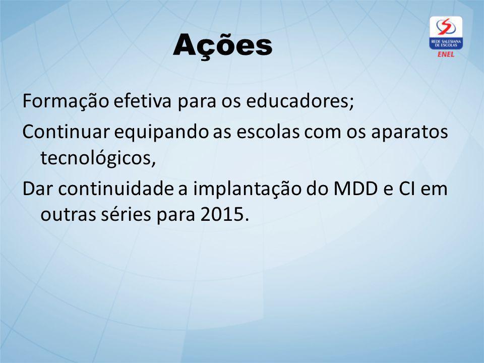 Ações Formação efetiva para os educadores; Continuar equipando as escolas com os aparatos tecnológicos, Dar continuidade a implantação do MDD e CI em outras séries para 2015.