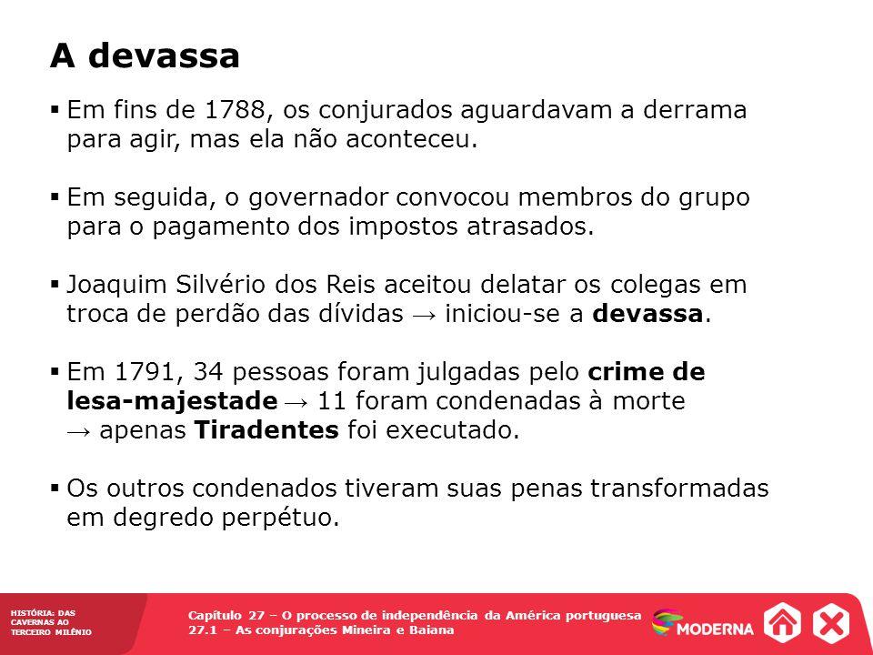 Capítulo 27 – O processo de independência da América portuguesa 27.1 – As conjurações Mineira e Baiana HISTÓRIA: DAS CAVERNAS AO TERCEIRO MILÊNIO A de