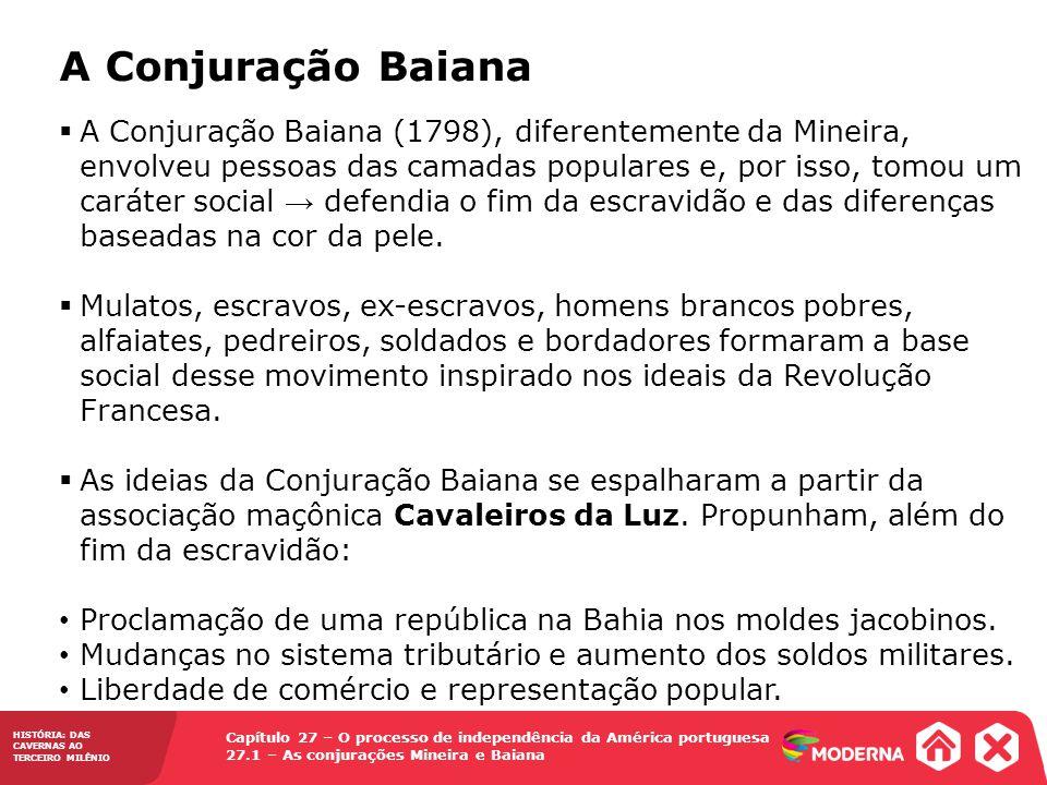 Capítulo 27 – O processo de independência da América portuguesa 27.1 – As conjurações Mineira e Baiana HISTÓRIA: DAS CAVERNAS AO TERCEIRO MILÊNIO A Co