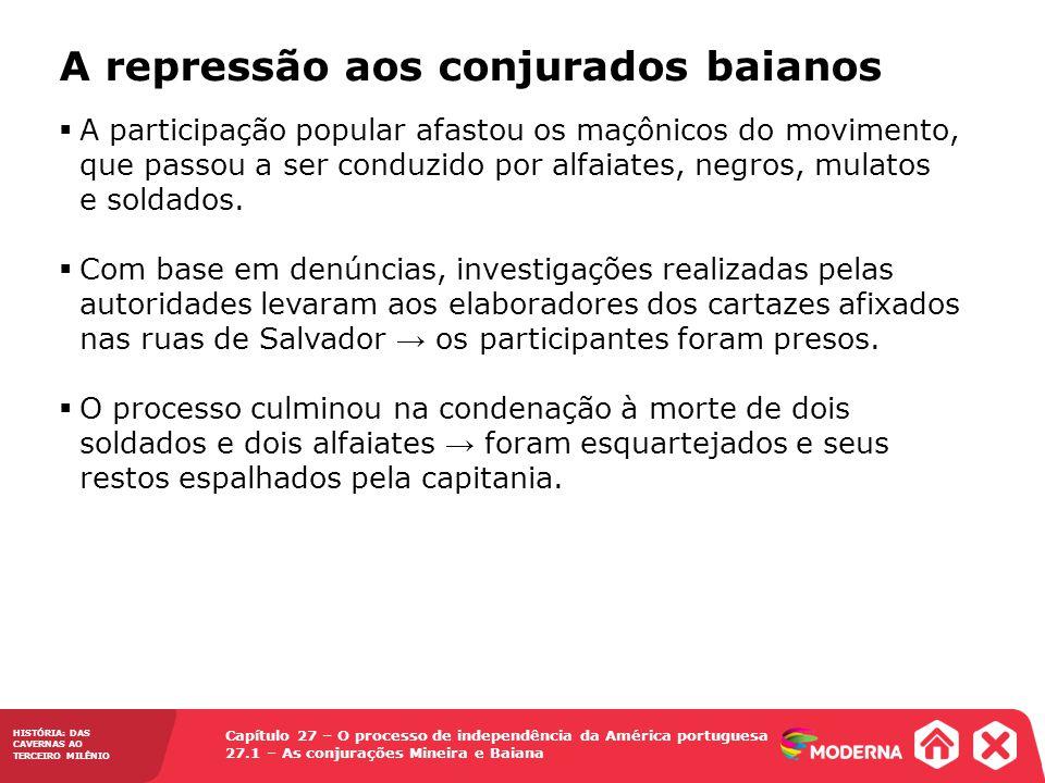 Capítulo 27 – O processo de independência da América portuguesa 27.1 – As conjurações Mineira e Baiana HISTÓRIA: DAS CAVERNAS AO TERCEIRO MILÊNIO A re