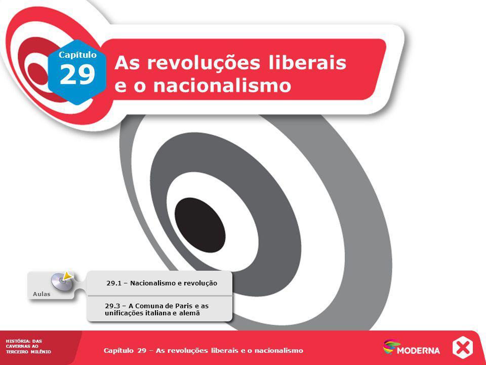 HISTÓRIA: DAS CAVERNAS AO TERCEIRO MILÊNIO Capítulo 29 – As revoluções liberais e o nacionalismo 29.1 – Nacionalismo e revolução Capítulo 29 – As revo