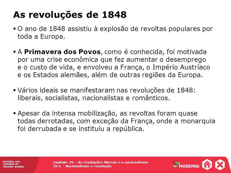 HISTÓRIA: DAS CAVERNAS AO TERCEIRO MILÊNIO Capítulo 29 – As revoluções liberais e o nacionalismo 29.1 – Nacionalismo e revolução As revoluções de 1848 Fonte: DUBY, Georges.