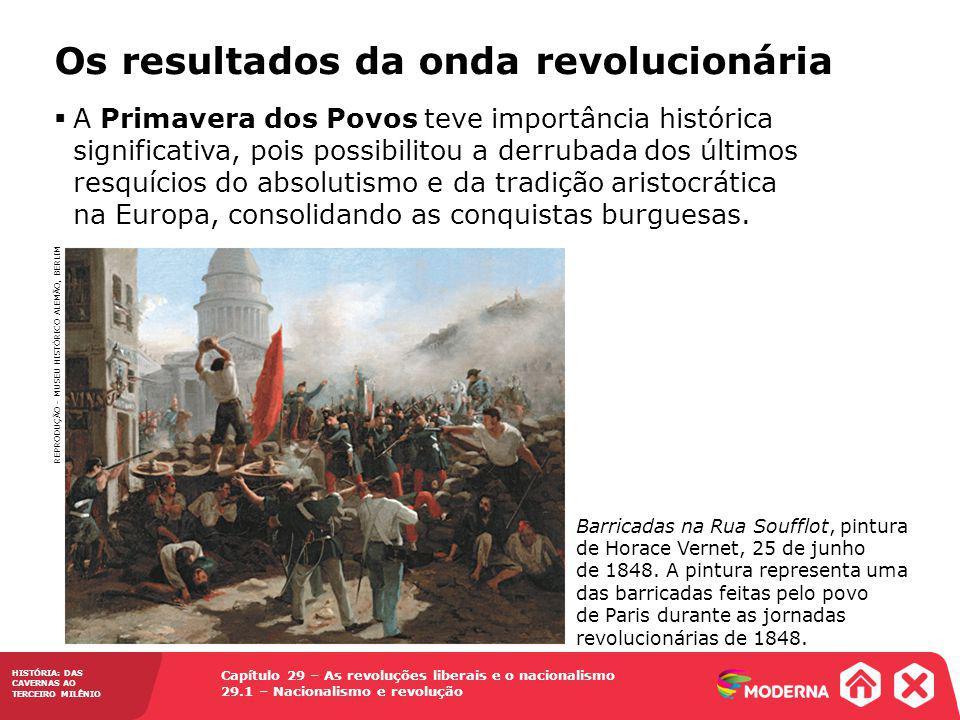 HISTÓRIA: DAS CAVERNAS AO TERCEIRO MILÊNIO Capítulo 29 – As revoluções liberais e o nacionalismo 29.1 – Nacionalismo e revolução Os resultados da onda