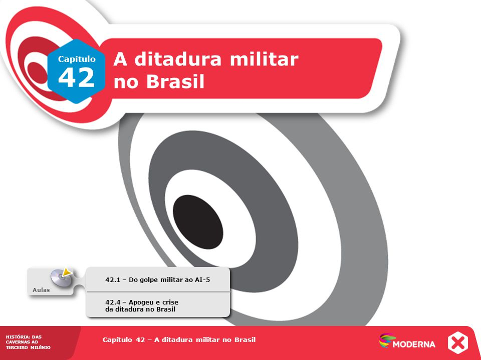 Capítulo 42 – A ditadura militar no Brasil 42.1 – Do golpe militar ao AI-5 HISTÓRIA: DAS CAVERNAS AO TERCEIRO MILÊNIO A ditadura escancarada O regime endurece a repressão 1969: cria, com o apoio de empresários e políticos civis, a Operação Bandeirante (Oban) e o Destacamento de Operações de Informações – Centro de Operações de Defesa Interna (DOI-Codi), este último organizado em cada estado.