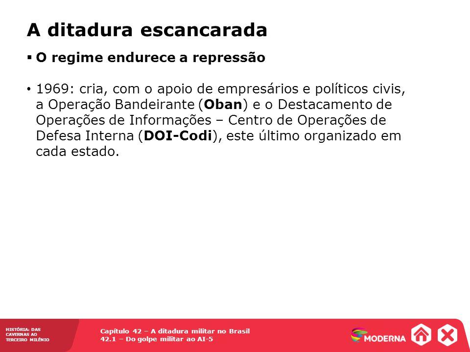 Capítulo 42 – A ditadura militar no Brasil 42.1 – Do golpe militar ao AI-5 HISTÓRIA: DAS CAVERNAS AO TERCEIRO MILÊNIO A ditadura escancarada O regime