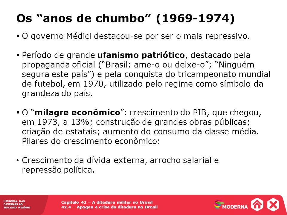 Capítulo 42 – A ditadura militar no Brasil 42.4 – Apogeu e crise da ditadura no Brasil HISTÓRIA: DAS CAVERNAS AO TERCEIRO MILÊNIO Os anos de chumbo (1