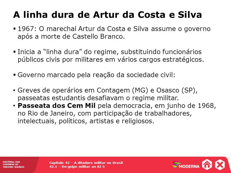 Capítulo 42 – A ditadura militar no Brasil 42.1 – Do golpe militar ao AI-5 HISTÓRIA: DAS CAVERNAS AO TERCEIRO MILÊNIO A linha dura de Artur da Costa e