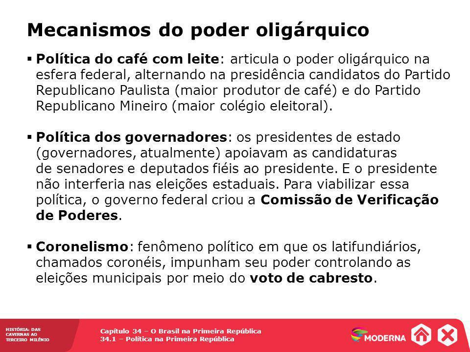 Capítulo 34 – O Brasil na Primeira República 34.1 – Política na Primeira República HISTÓRIA: DAS CAVERNAS AO TERCEIRO MILÊNIO Mecanismos do poder olig