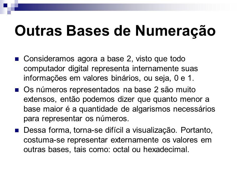 Outras Bases de Numeração Consideramos agora a base 2, visto que todo computador digital representa internamente suas informações em valores binários,