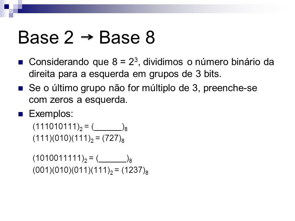 Base 2 Base 8 Considerando que 8 = 2 3, dividimos o número binário da direita para a esquerda em grupos de 3 bits. Se o último grupo não for múltiplo