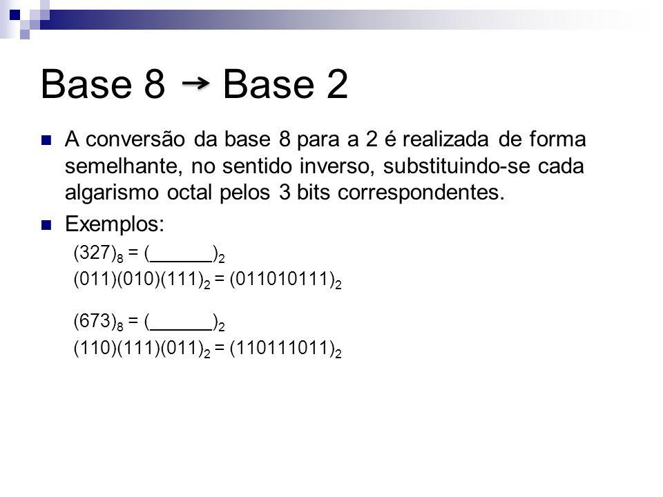 Base 8 Base 2 A conversão da base 8 para a 2 é realizada de forma semelhante, no sentido inverso, substituindo-se cada algarismo octal pelos 3 bits co