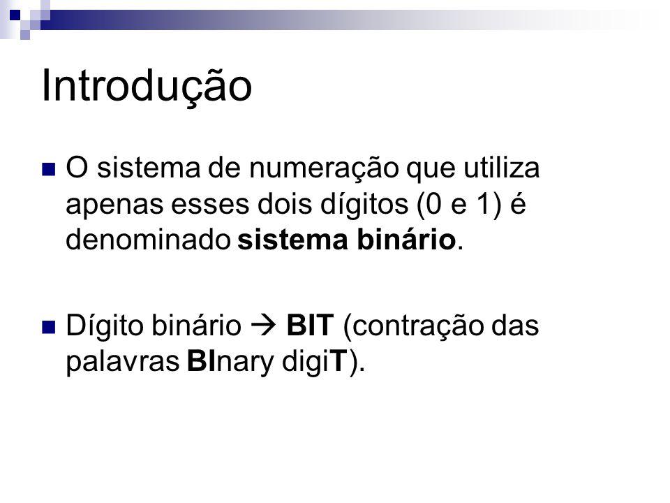 Introdução O sistema de numeração que utiliza apenas esses dois dígitos (0 e 1) é denominado sistema binário. Dígito binário BIT (contração das palavr