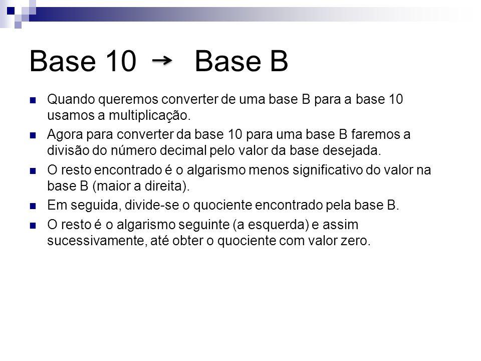Base 10 Base B Quando queremos converter de uma base B para a base 10 usamos a multiplicação. Agora para converter da base 10 para uma base B faremos