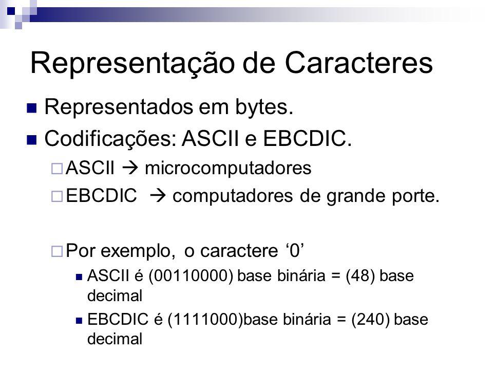 Representação de Caracteres Representados em bytes. Codificações: ASCII e EBCDIC. ASCII microcomputadores EBCDIC computadores de grande porte. Por exe