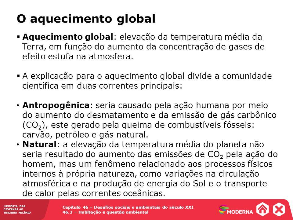 Capítulo 46 – Desafios sociais e ambientais do século XXI 46.3 – Habitação e questão ambiental HISTÓRIA: DAS CAVERNAS AO TERCEIRO MILÊNIO O aqueciment