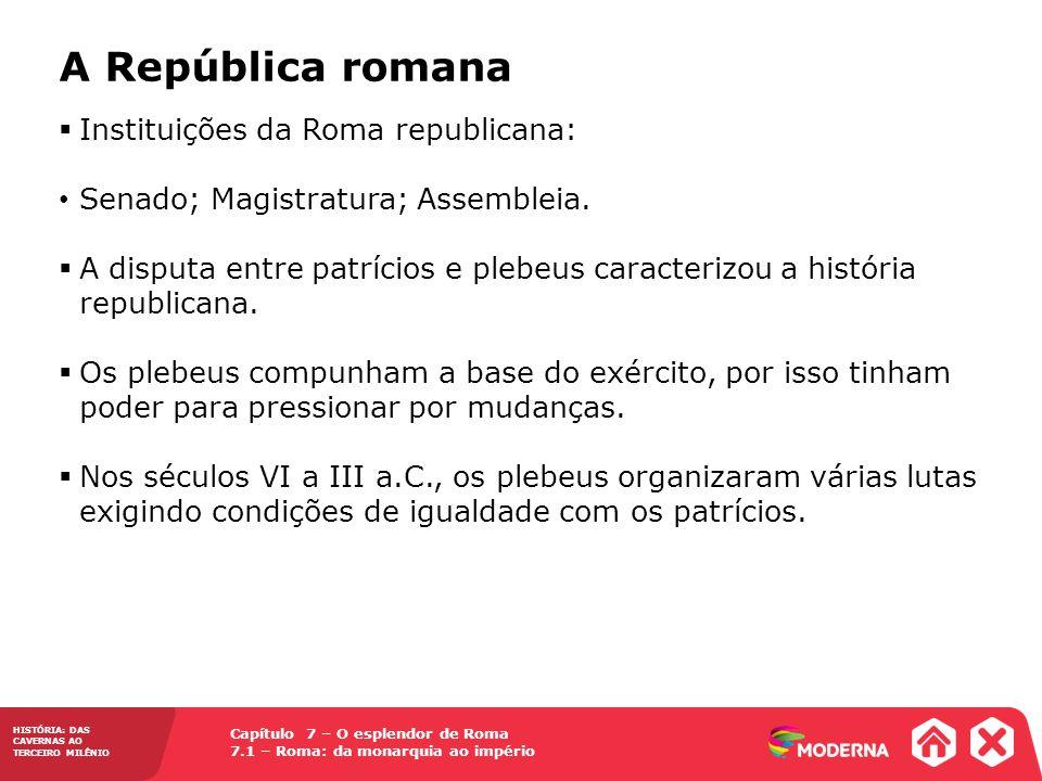 Capítulo 7 – O esplendor de Roma 7.1 – Roma: da monarquia ao império HISTÓRIA: DAS CAVERNAS AO TERCEIRO MILÊNIO As conquistas sociais e políticas dos plebeus 494 a.C.
