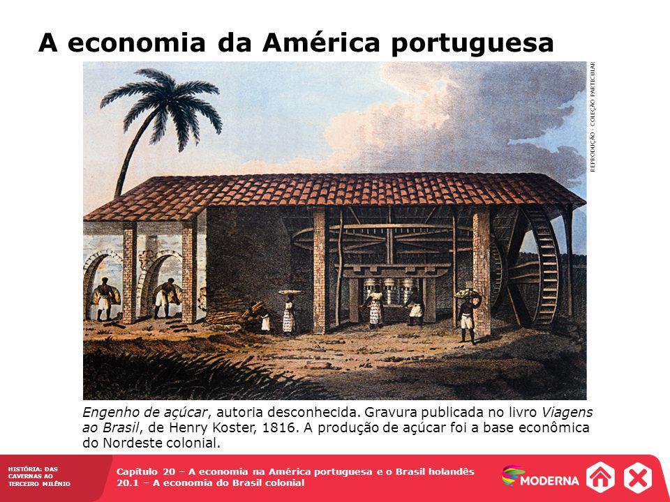 HISTÓRIA: DAS CAVERNAS AO TERCEIRO MILÊNIO Capítulo 20 – A economia na América portuguesa e o Brasil holandês 20.1 – A economia do Brasil colonial A economia da América portuguesa REPRODUÇÃO - COLEÇÃO PARTICULAR Engenho de açúcar, autoria desconhecida.