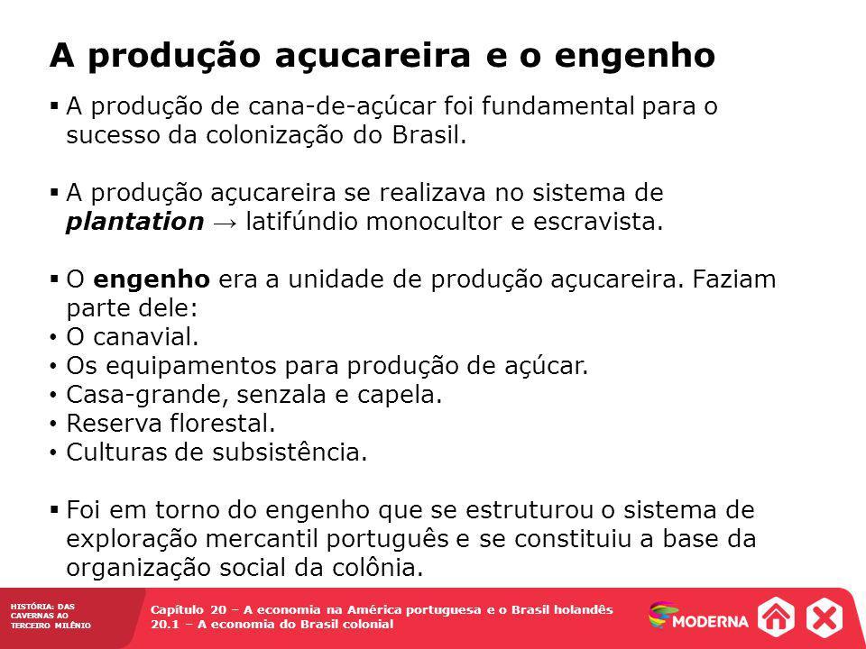 HISTÓRIA: DAS CAVERNAS AO TERCEIRO MILÊNIO Capítulo 20 – A economia na América portuguesa e o Brasil holandês 20.1 – A economia do Brasil colonial A produção de cana-de-açúcar foi fundamental para o sucesso da colonização do Brasil.