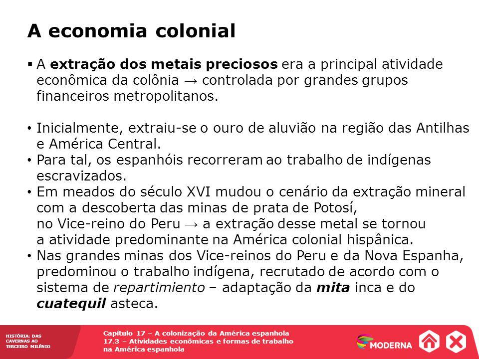 HISTÓRIA: DAS CAVERNAS AO TERCEIRO MILÊNIO Capítulo 17 – A colonização da América espanhola 17.3 – Atividades econômicas e formas de trabalho na Améri