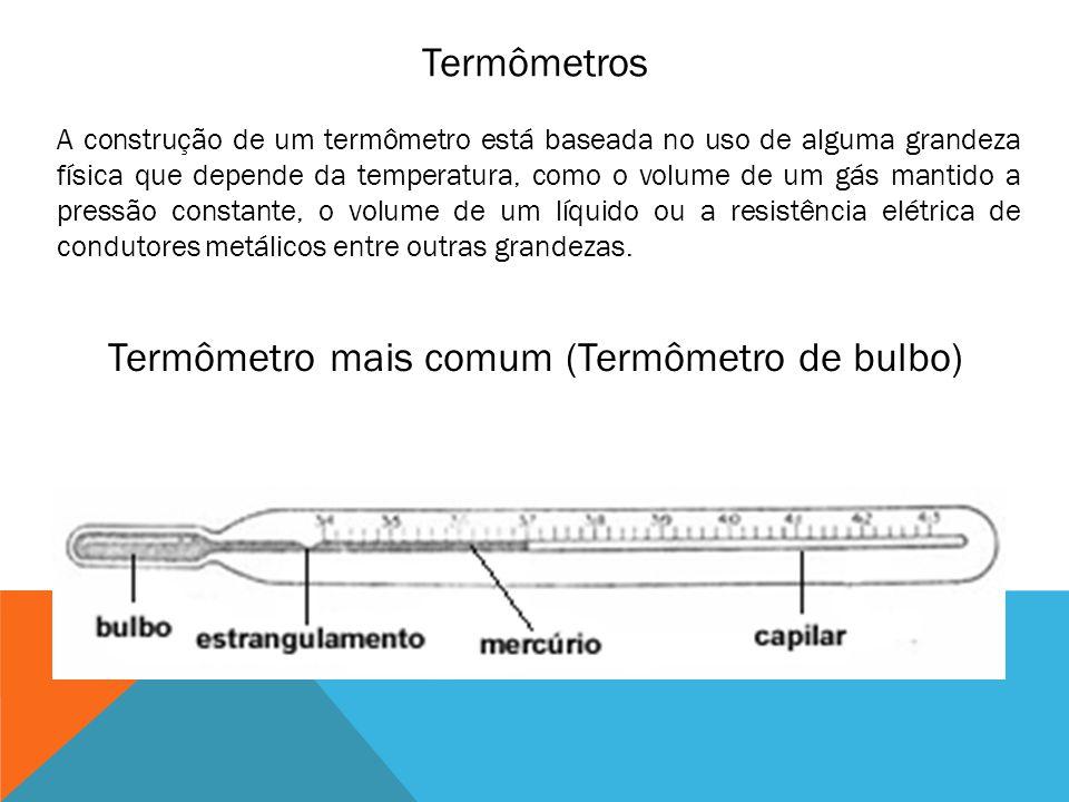 Termômetros A construção de um termômetro está baseada no uso de alguma grandeza física que depende da temperatura, como o volume de um gás mantido a
