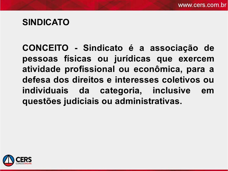 SINDICATO CONCEITO - Sindicato é a associação de pessoas físicas ou jurídicas que exercem atividade profissional ou econômica, para a defesa dos direi