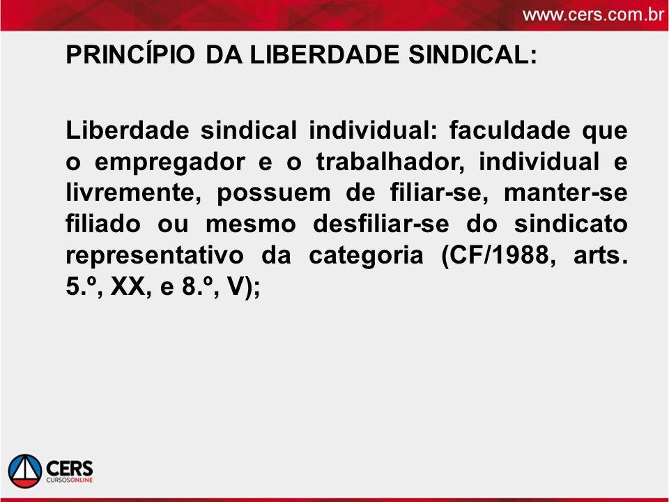 PRINCÍPIO DA LIBERDADE SINDICAL: Liberdade sindical individual: faculdade que o empregador e o trabalhador, individual e livremente, possuem de filiar